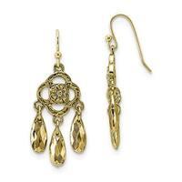 Brass Glass Bead Dangle Post Earrings