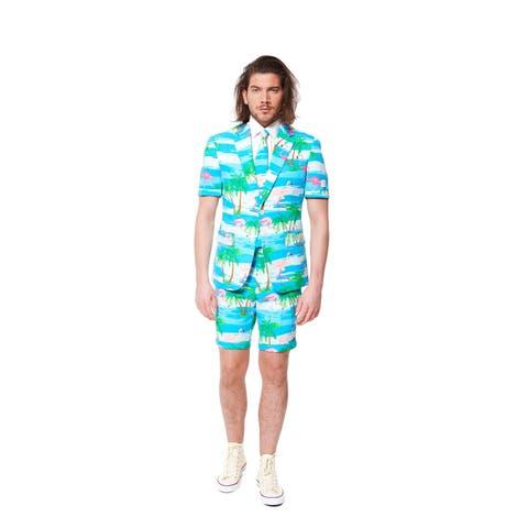 White and Blue Classic Men Adult Slim Fit Summer Flaminguy Suit - Medium