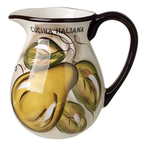 Cucina Italiana Ceramic Fruit Decor 80 oz. Pitcher