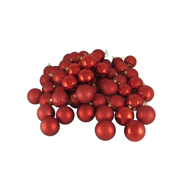 """96ct Red Hot 4-Finish Shatterproof Christmas Ball Ornaments 1.5"""" (40mm)"""