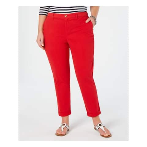 TOMMY HILFIGER Womens Red Pocketed Zippered Pants Size 20W