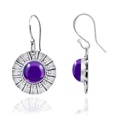Amethyst, Chalcedony, Tiger Eye Sterling Silver Round Dangle Earrings by Orchid Jewelry