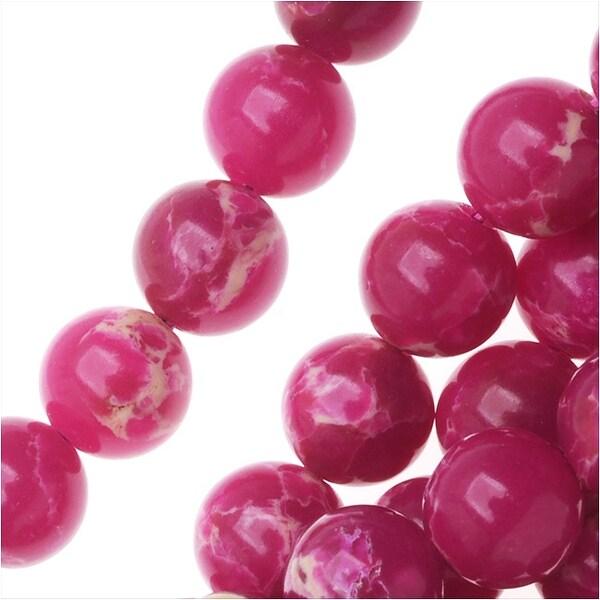 Impression Jasper Gemstone Beads, Round 6mm, 15 Inch Strand, Magenta Pink
