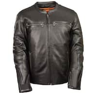 Mens Black Leather Scooter Style Jacket