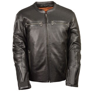 Mens Black Leather Scooter Style Jacket (More options available)