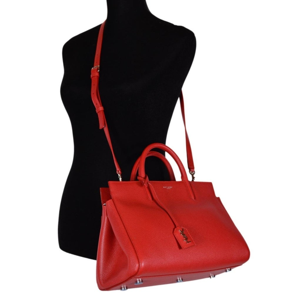 d7d087a611b3 Shop Saint Laurent YSL 400413 Small Red Leather Cabas Rive Gauche Purse  Handbag - Free Shipping Today - Overstock - 21945715