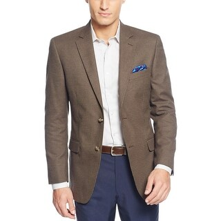 Tasso Elba Olive Green and Navy Blue Houndstooth Two Button Sportcoat Blazer (Option: Green)