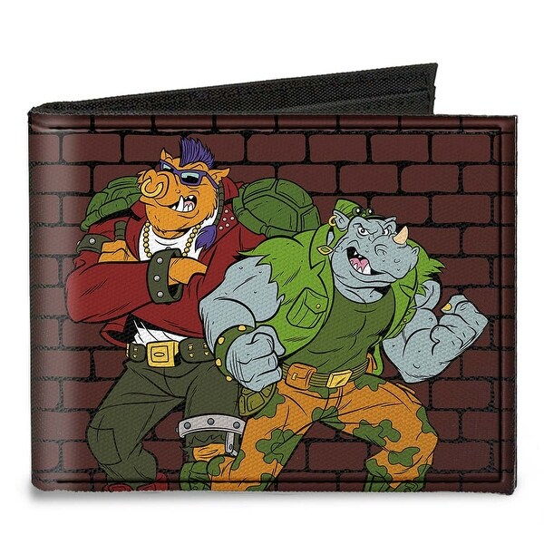 Rocksteady & Bebop Pose + Tmnt Logo Bricks Canvas Bi Fold Wallet One Size - One Size Fits most