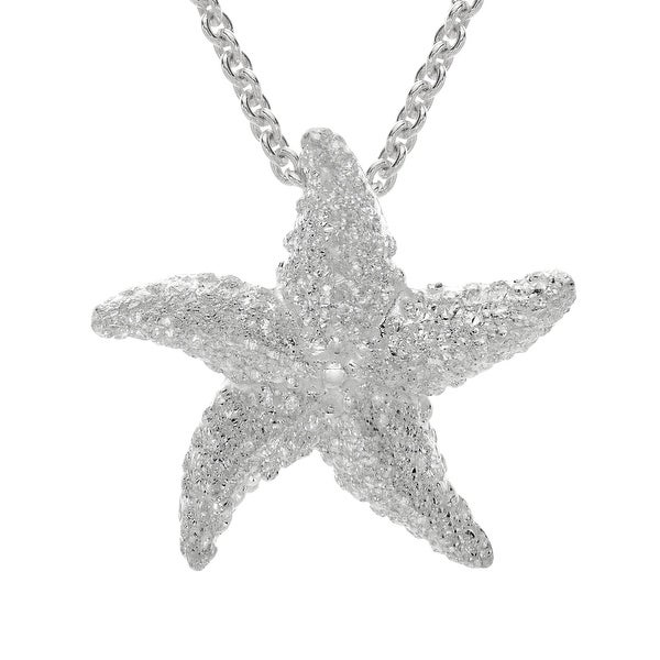 Kabana Small Starfish Pendant in Sterling Silver - White