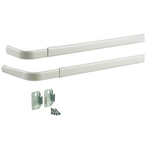 """Kenney KN521 Heavy-Duty Double Rod, 28""""-48"""", White"""