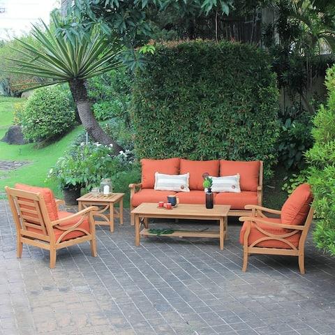 Lowell 5-piece Teak Wood Patio Conversation Set by Havenside Home