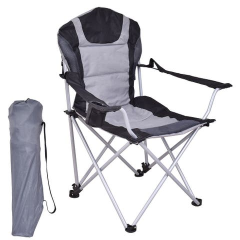 Gymax Portable Fishing Camping Chair Seat Cup Holder Beach Picnic