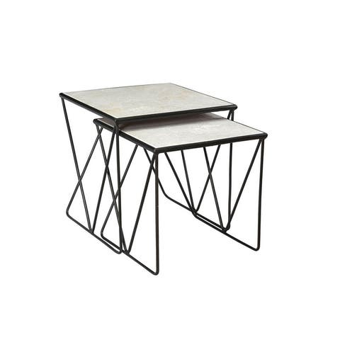 Aja Marble and Iron Nesting Table (Set of 2) - 20 x 20 x 20 inches