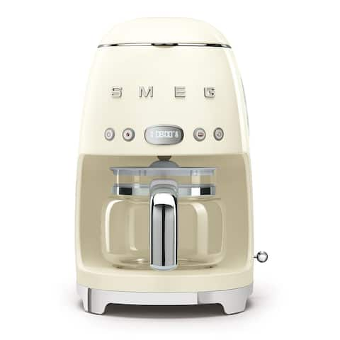 Smeg 50's Retro Style Aesthetic Drip Coffee Machine, Cream
