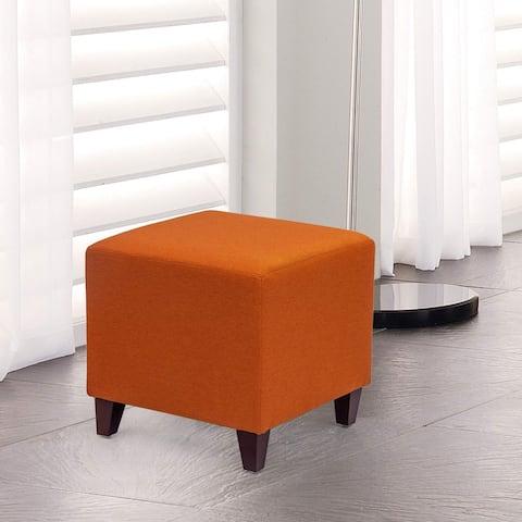 Adeco Simple British Style Passionate Orange Cube Ottoman Footstool