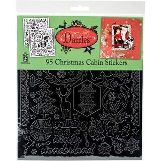 """Christmas Cabin-Black; Clear Foil - Dazzles Stickers 8""""X9"""" 2/Pkg"""