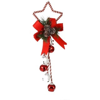 """16"""" Peppermint Twist Red & White Jingle Bell with Star Christmas Door Hanger"""