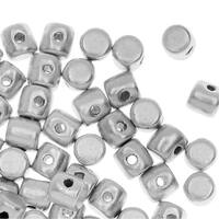Czech Glass Minos par Puca, Cylindrical Beads 2.5x3mm, 120 Pieces, Matte Silver Aluminum