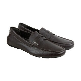 Calvin Klein Martyn Tumbled Mens Brown Leather Casual Dress Loafers Shoes