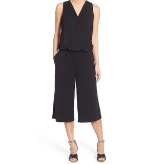 Halogen Black Womens Size Small S V-Neck Sleeveless Cropped Jumpsuit