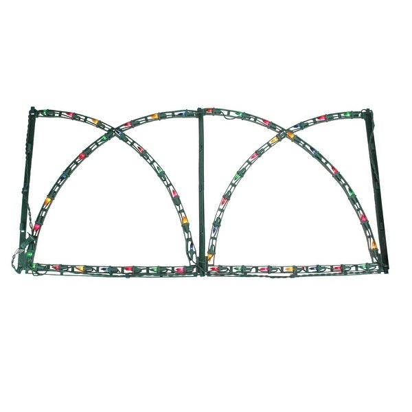 """94"""" Lighted Green Christmas Pathway Fence - Multi Lights"""