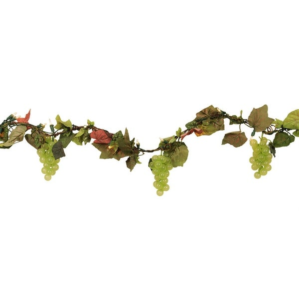 9 pre lit tuscan winery green grape cluster artificial christmas garland
