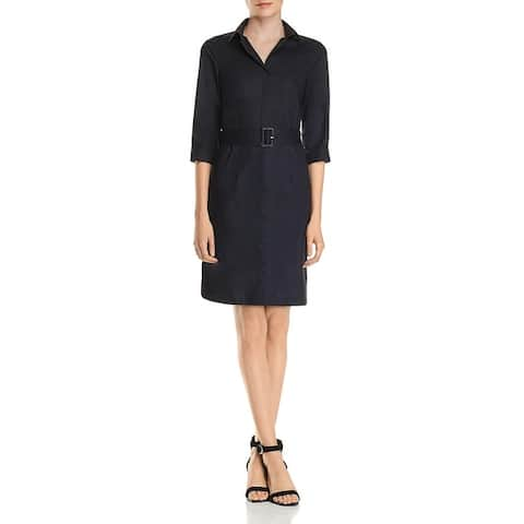 BOSS Hugo Boss Womens Shirtdress Collared Belted - Open Blue