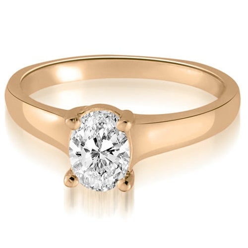 0.50 cttw. 14K Rose Gold Classic Lucida Oval Cut Diamond Engagement Ring
