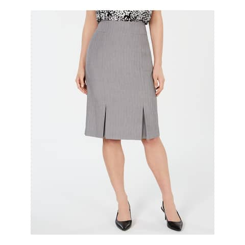 KASPER Womens Gray Knee Length Pleated Wear to Work Skirt Size 4