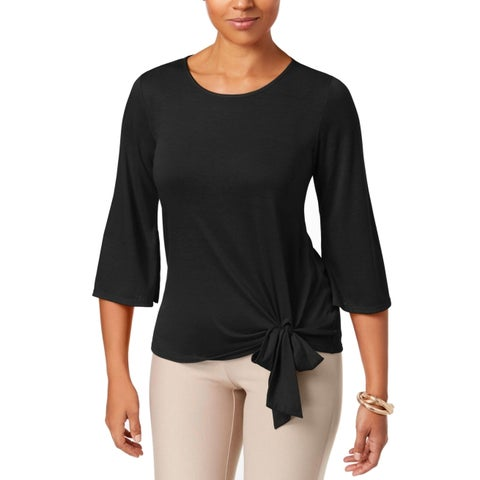 NY Collection Black Women's Size Small S Stretch Side-Tie Top