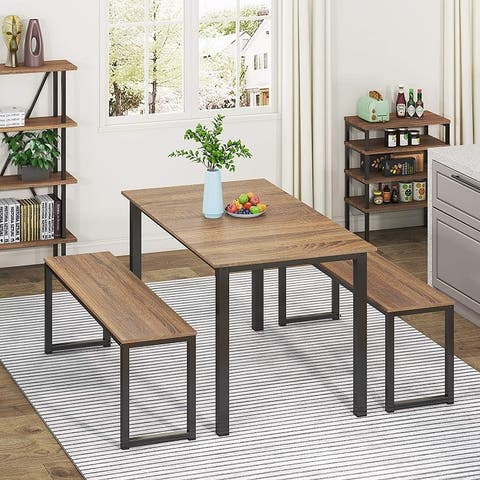 HOMURY 3 Piece Dining Table Set with Two Benches,Industrial Brown