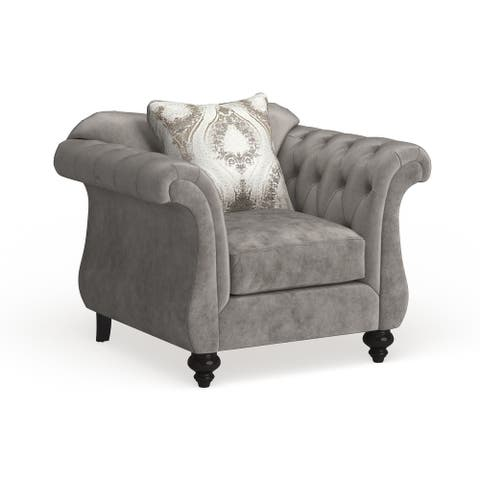 Furniture of America Perm Traditional Fabric Tufted Armchair