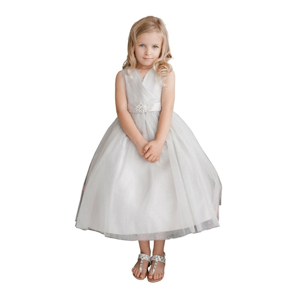b61e34dc4 Shop Little Girls Silver Glitter Tulle V-Neck Rhinestone Brooch Flower Girl  Dress - Free Shipping Today - Overstock - 18168197