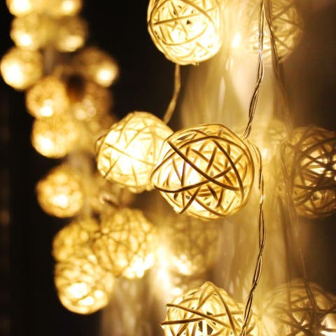 10ft 20 LED Rattan Ball String Light with Battery Box, for Home Decor
