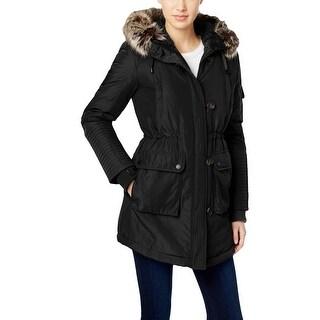 BCBGeneration Womens Puffer Coat Faux Fur Parka - S