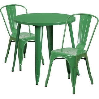 Brimmes 3pcs Round 30'' Green Metal Table w/2 Cafe Chairs