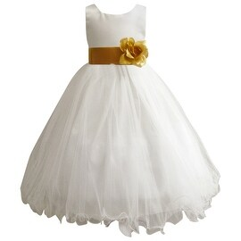 Wedding Easter Flower Girl Dress Paperio Ivory Rattail Satin Tulle (Baby - 14) Gold