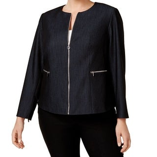 Calvin Klein Blue Womens Size 20W Plus Full Zip Denim Jacket