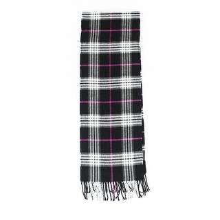 John Ashford NEW Black Purple One Size Plaid Print Knit Fringed Scarf