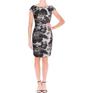 Vera Wang Womens Cocktail Dress Jacquard Metallic