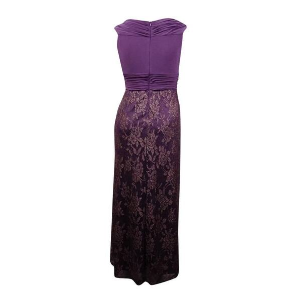 Patra Women\'s Plus-Size Glittered V-Neck Dress - plum/go - 16W