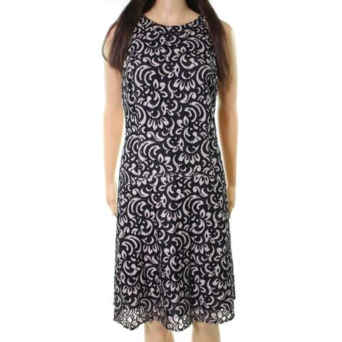 Tommy Hilfiger Womens Lace High-Neck A-Line Dress