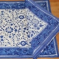 Rajasthan Block Print Floral Round Tablecloth Rectangular Cotton Table Napkins Placemats Runner - Thumbnail 1