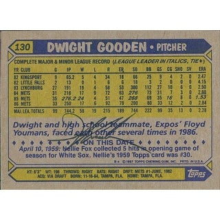Signed Gooden Dwight New York Mets 1987 Topps Baseball Card on the back autographed