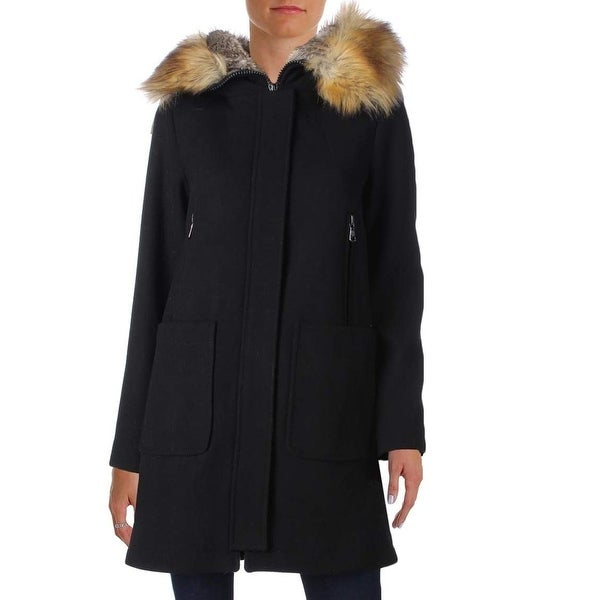 Vince Camuto Black Women's Size Large L Fauc Fur Trim Trench Wool