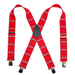 CTM® Men's 2 Inch Wide Freightliner Clip-End Truck Suspenders - Red - One Size