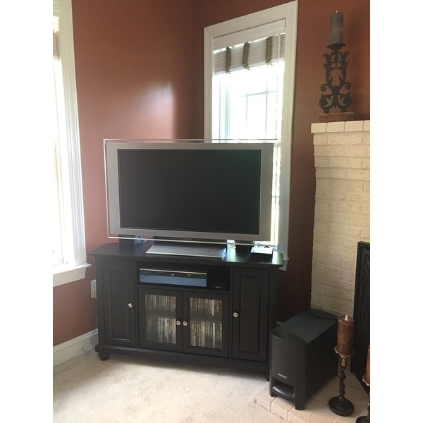Shop Crosley Furniture Cambridge Black Finish 48 Inch Corner TV Stand    Free Shipping Today   Overstock.com   15315673