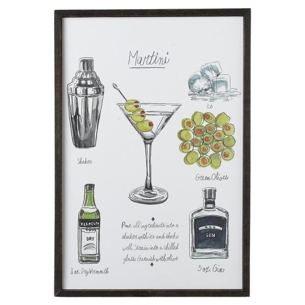Set Of 2 White Green And Brown Framed Martini Recipe Classic Cocktail Wall Decor 19 1 N A