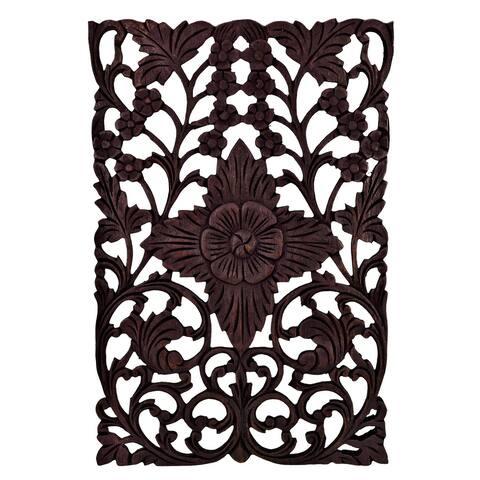 Handmade Carved Floral Inspired Blossom Vertical Teak Wood Wall Art (Thailand)