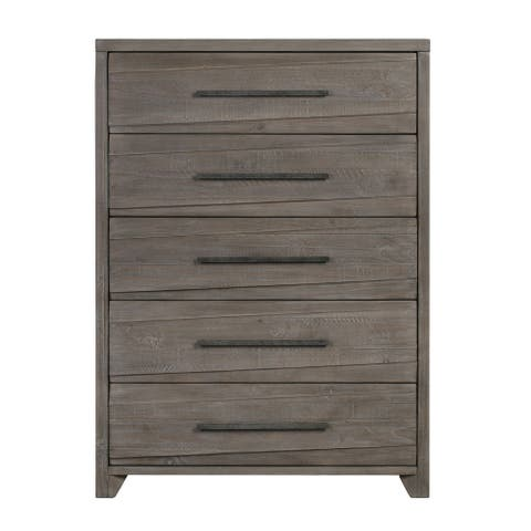 Hearst Solid Wood Five Drawer Chest in Sahara Tan